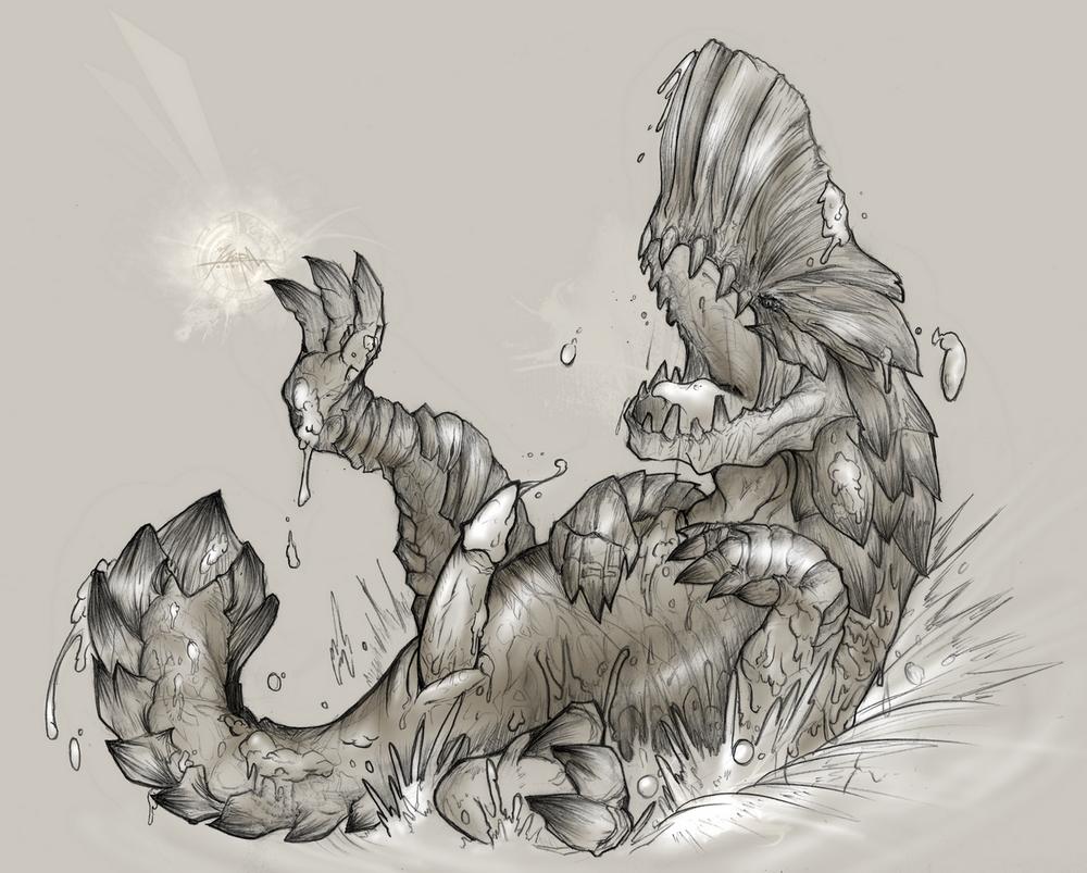 bat hunter monster puffy world Me-mow original drawing
