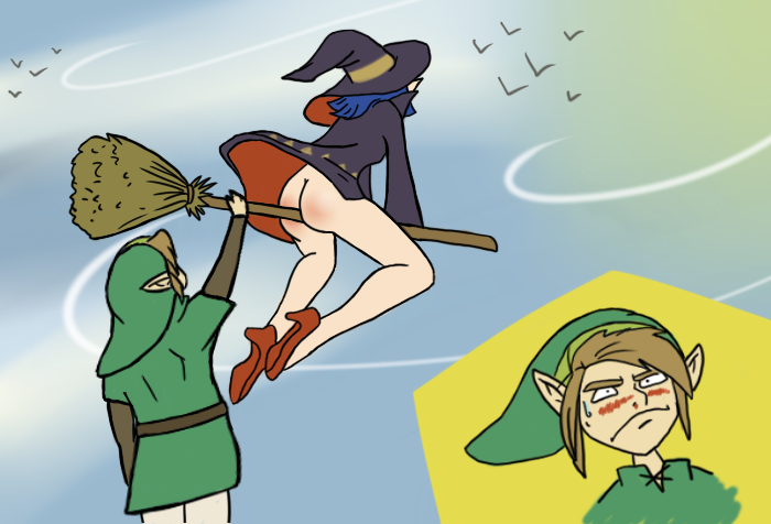 link and faces of evil the Blue and white striped panties