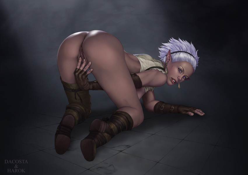 for skin ears brown elf The king of fighters anime girls